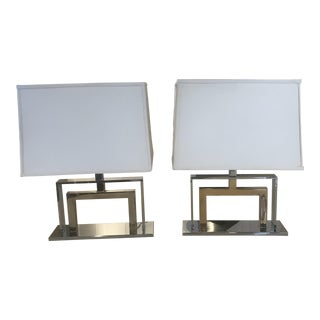 Christian Dior Chrome & Polished Brass Table Lamps - a Pair For Sale