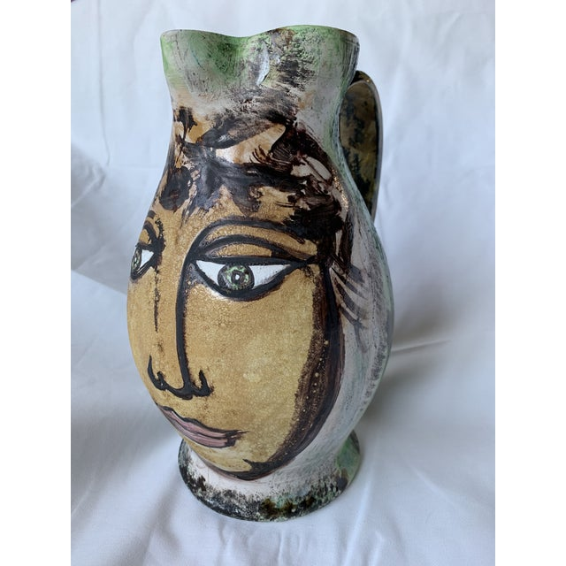 Pablo Picasso Vintage Italian Pottery Hand Painted Face Pitcher Vase For Sale - Image 4 of 13
