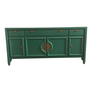 Emerald Green Vintage Sideboard/Credenza For Sale