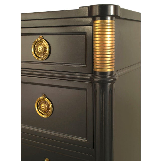 French Louis XVI style (1940s) ebonized bronze trim chest with 6 drawers having ring handles and supported on small...