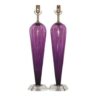 Joe Cariati Teardrop Glass Lamps Violet For Sale
