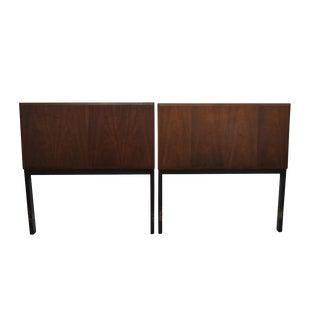Mid Century Modern Milo Baughman Pair of Walnut & Black Frame Headboards For Sale