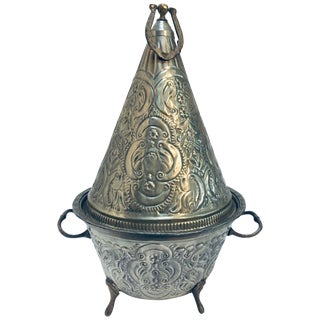 Moroccan Silver Repousse Serving Dish Tajine With Cover For Sale