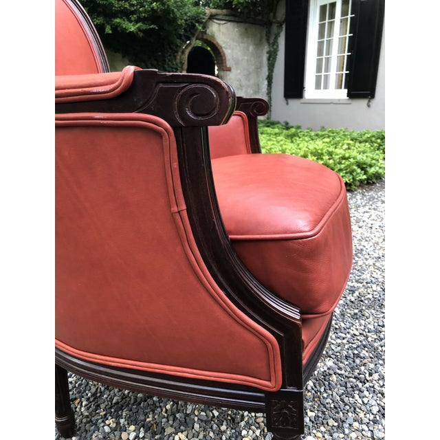 2000 - 2009 Traditional Persimmon Leather Armchair For Sale - Image 5 of 11
