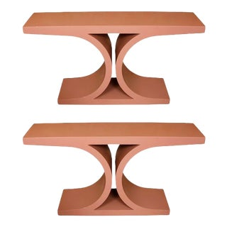 Pink Modern Lacquered Consoles - A Pair For Sale