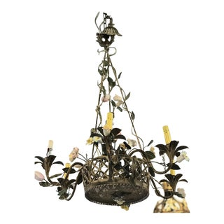 Vintage Metal Floral Chandelier For Sale