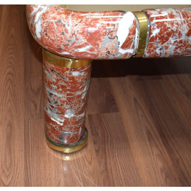 Metal 1970s Tommaso Barbi Ceramic Coffee Table With Mirror Top For Sale - Image 7 of 13