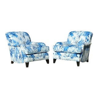 Mitchell Gold for Restoration Hardware Club Chairs, Newly Re-Upholstered, Pair. For Sale