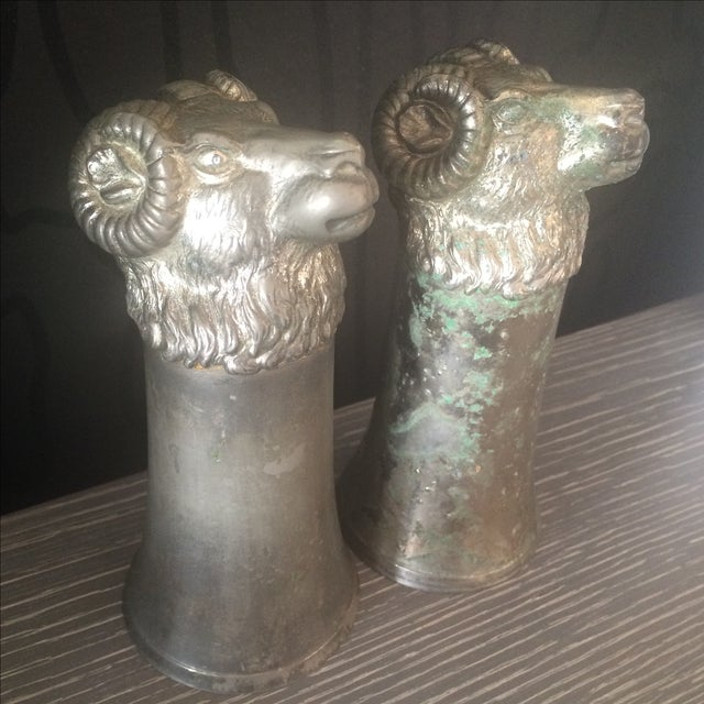 Silver Plated Pewter Ram Stirrup Cups - A Pair - Image 2 of 9