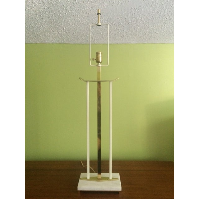 Art Deco Mid-Century Brass & Marble Table Lamp For Sale - Image 3 of 6