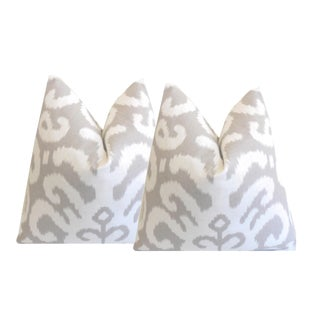 Custom Gray Fergana Ikat Pillows - a Pair For Sale