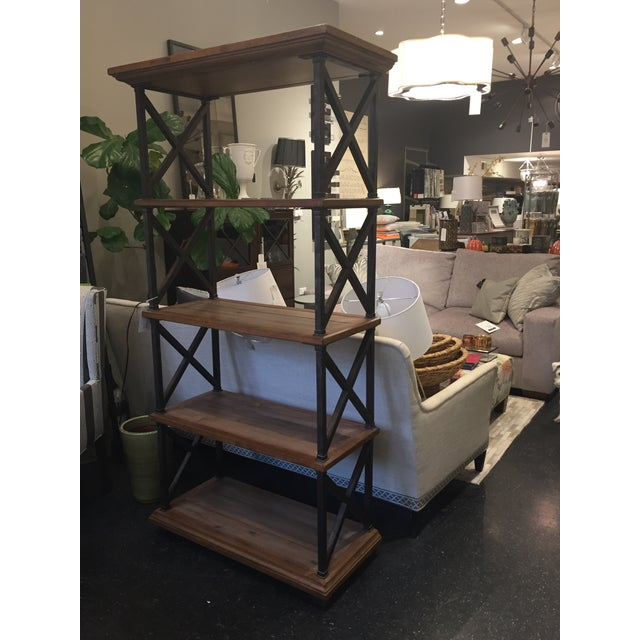 2010s Distressed Iron & Wood Bookshelf For Sale - Image 5 of 5