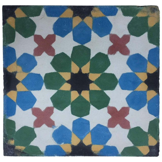 Moroccan handcrafted and hand-painted cement tile with traditional Fez Moorish Design. Moroccan encaustic encaustic floor...