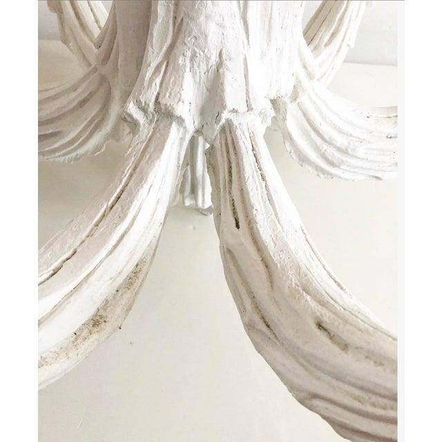 Plaster Vintage Dorothy Draper Style Draped White Chandelier For Sale - Image 7 of 13