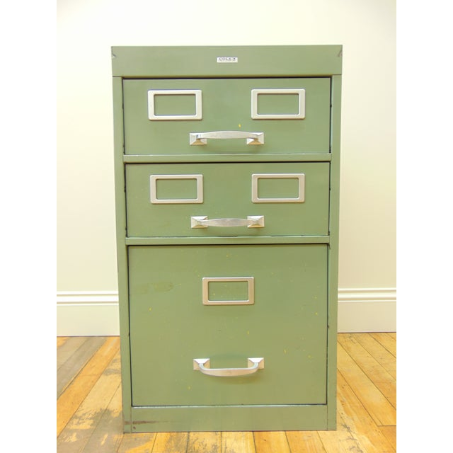 Cole industrial light green metal file cabinet chairish i have two of these file cabinets available so you can get a matching pair malvernweather Images
