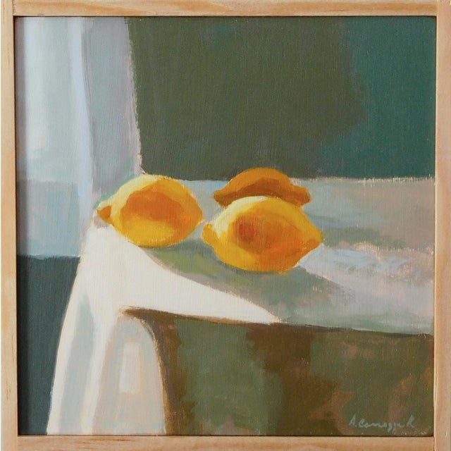 Lemons in the afternoon light. Yellow stands for optimism. This painting has a semi abstract, impressionist feel to it....