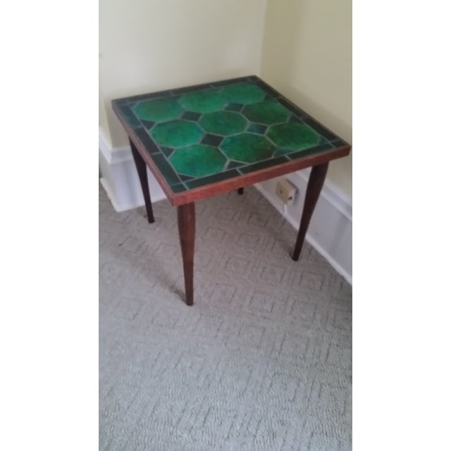 Mid Century Danish Tile Green Side Table - Image 6 of 7