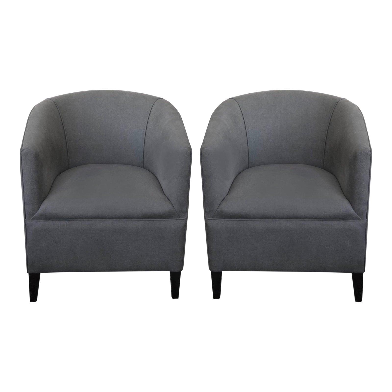 Circa 1930\'s Grey English Tub Chairs - A Pair | Chairish