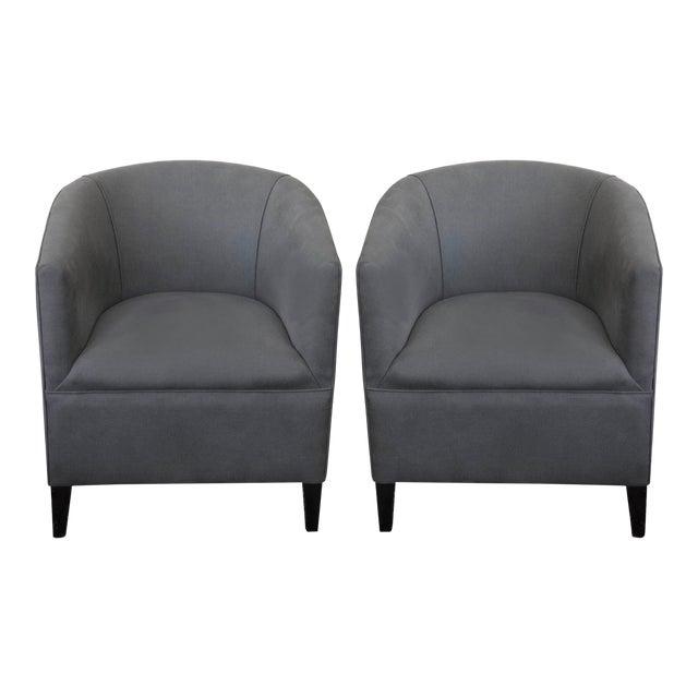 Circa 1930's Grey English Tub Chairs - A Pair For Sale
