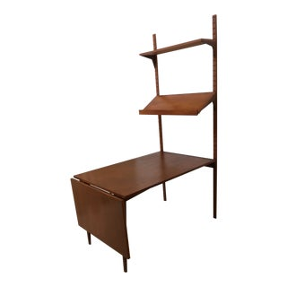 1950s Mid-Century Modern Poul Cadovius Teak Royal Shelving Unit with Extension Desk