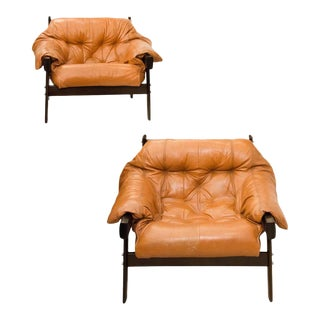 Pair of Lafer Leather Armchairs by Percival Lafer For Sale