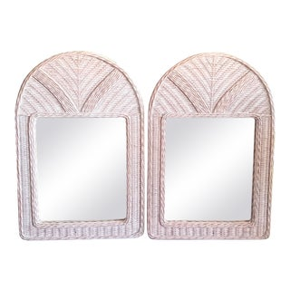 Vintage Weaved White Washed Coastal Beachy Wicker Oval Top Wall Mirrors- a Pair For Sale