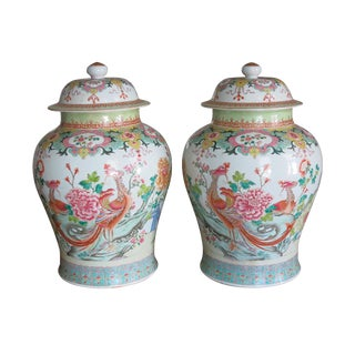 1900s Vintage Chinese Porcelain Famille Rose Balluster Jars- A Pair For Sale