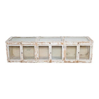 Antique Belgian Painted Shop Vitrine For Sale