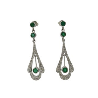 18k White Gold Diamond Emerald Drop Earrings For Sale