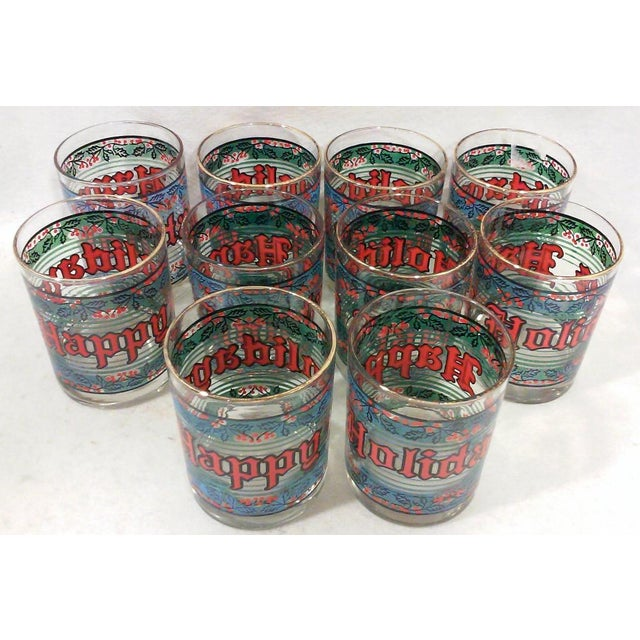 Vintage Happy Holidays Rock Glasses - Set of 12 - Image 5 of 5