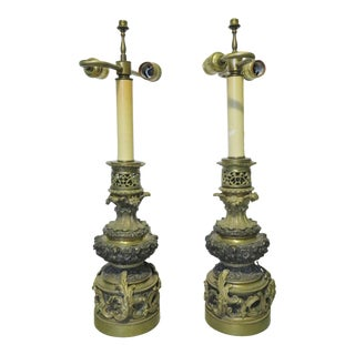 French Empire Bronze Lamps/ a Pair For Sale