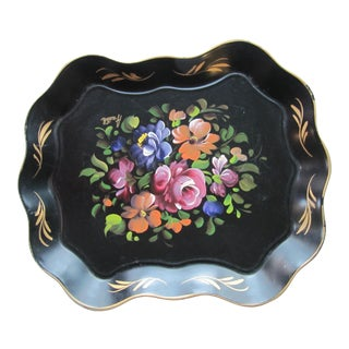 Black Tole Tray With Hand-Painted Flowers For Sale