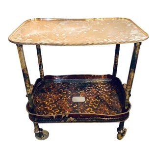 Tortoise Shell Decorated Two-Tier Hollywood Regency Style Silver Plated Server For Sale