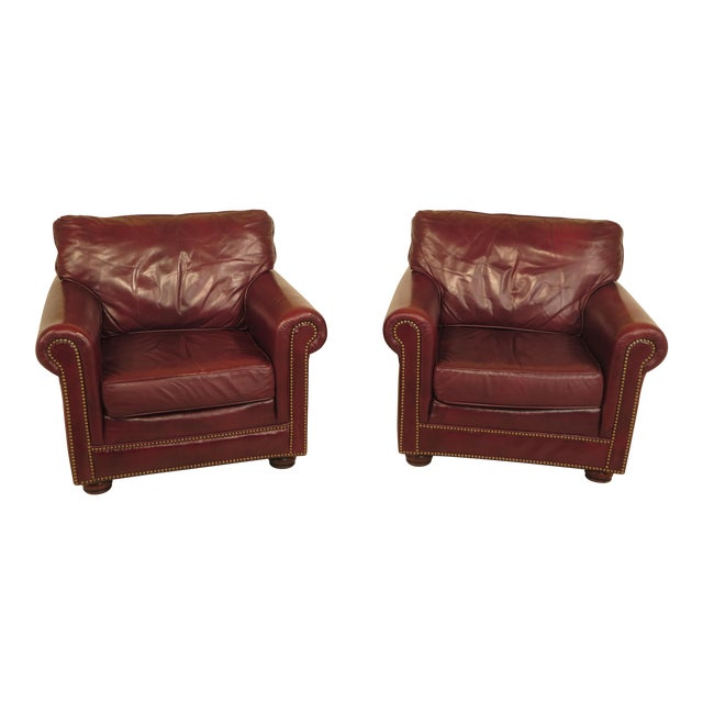 Burgundy Leather Club Chairs - A Pair - Image 1 of 13