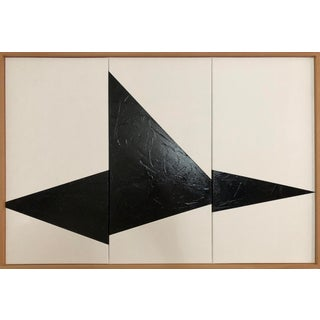 "Original Acrylic Painting ""Black on Point Triptych Jet0589"" For Sale"