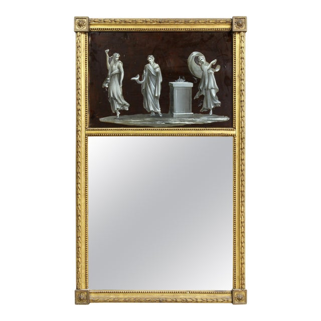Dutch Neoclassic Giltwood and Reverse Painted Mirror For Sale