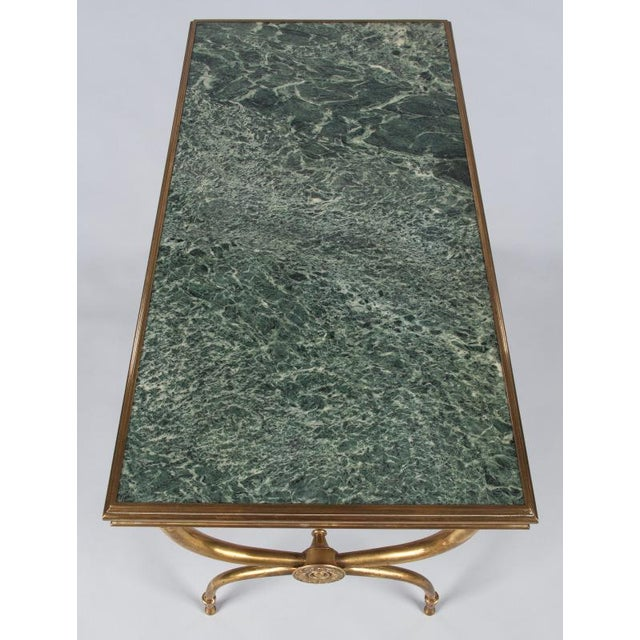 French Mid-Century Brass and Marble Coffee Table For Sale In Austin - Image 6 of 13