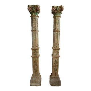 Antique Colonial India Columns - A Pair