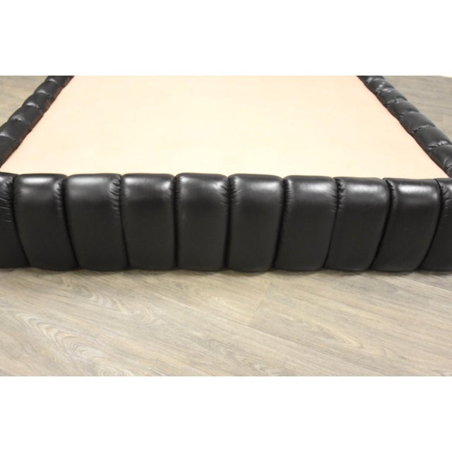 Modern Jay Spectre Black Leather Queen Bed For Sale - Image 3 of 11