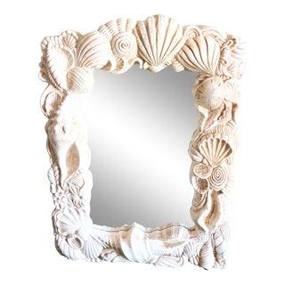 1980s Molded Plaster Coastal Seashell Large Wall Mirror For Sale