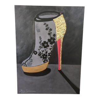 Contemporary Painting of Designer Lacy Shoe For Sale