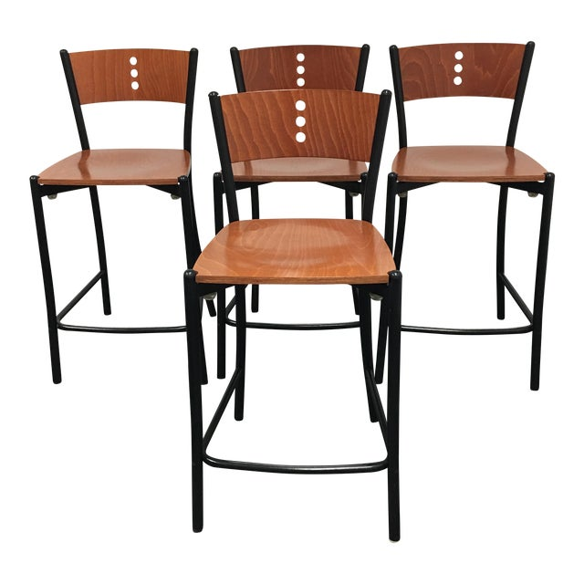 Contemporary Wood & Metal Counter Stools - Set of 4 - Image 1 of 8