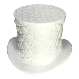 Vintage White Glass Pop Art Style Top Hat Catchall For Sale