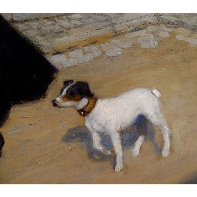 1900 - 1909 Jacques Wely -Woman & Her Jack Russel Dog Coming From the Market-Oil Painting For Sale - Image 5 of 13