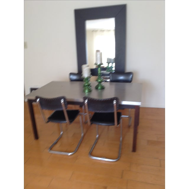 ZGallerie Metal Top Dining Table & Cantilever Chairs Dining Set - Image 4 of 8