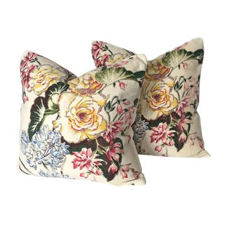 Vintage Bark Cloth Floral Pillows - A Pair