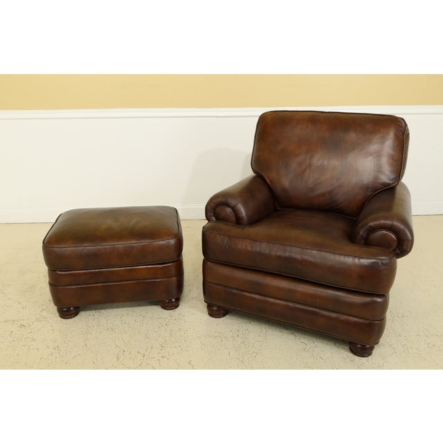 Hancock And Moore Brown Leather Chair Amp Ottoman Chairish