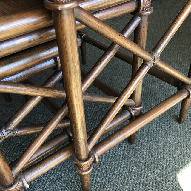 2000 - 2009 Bamboo Nesting Tables, Set of Three For Sale - Image 5 of 9