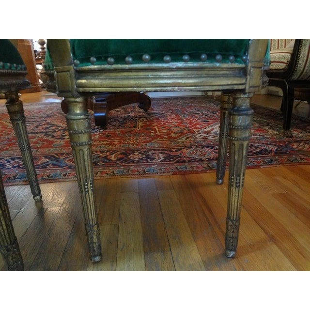 Green 19th Century French Louis XVI Style Giltwood Chairs - a Pair For Sale - Image 8 of 10