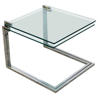 Mid-Century Modern Cantilever Chrome and Glass Nesting Side Tables, 1970s - a Pair For Sale